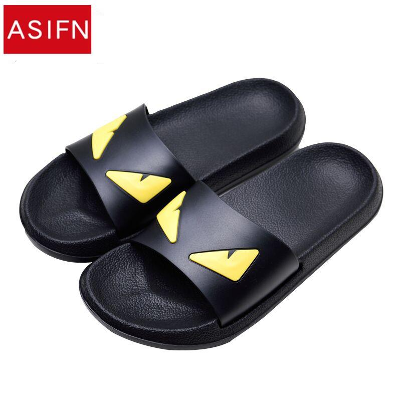 Asifn Men 39 S Slippers Women Message Devil Men Shoes Eyes Flip Flops Cartoon Male Sandals Two Different Soles Summer Couples Man Wide Calf Boots Shoes For Women From Koday 16 32 Dhgate Com