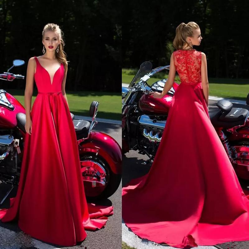 Vestidos de noche de encaje rojo 2020 con sash Profundo en V cuello satinado barrido tren largo formal fiesta fiesta fiesta fiesta