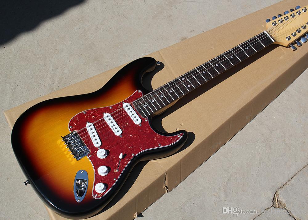 Fábrica Personalizado Tabaco Sunburst Corpo Guitarra Elétrica com 12 Cordas, Vermelho Pickguard, Chrome Hardwares, Oferta Personalizada