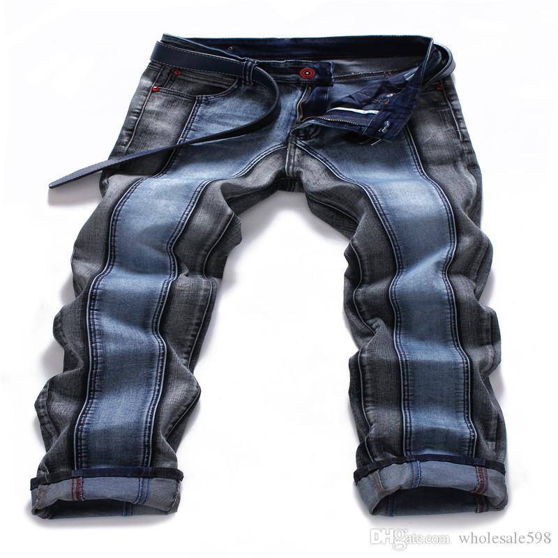 Nowy 2020 Moda męska Rock Revival proste dżinsy Dwa kolor łączących się ze sobą dżinsy mężczyzn