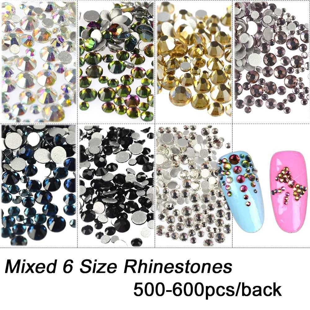 Mixed 6 Size Crystal Rhinestones 3D Nail Art Decorations Flatback AB/White/Purple/Yellow/Rainbow/Ink Blue/Black Gem CH309