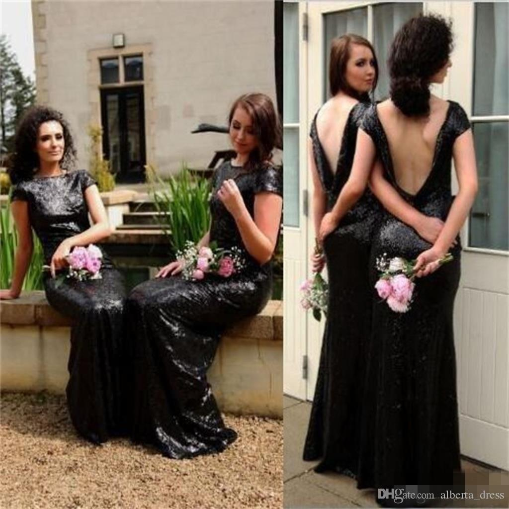Sparkly Black Sequin vestido de dama de honor barato por encargo Sleeevs corto Vackless boda vestido de invitado sirena vestidos de noche