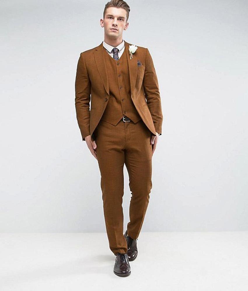 Light Brown Hommes 3 Pièce Costume De Mariage Tuxedos Excellent Groom Tuxedos Notch Revers Slim Fit Hommes Dîner Prom Blazer (Veste + Pantalon + Cravate + Gilet) 482