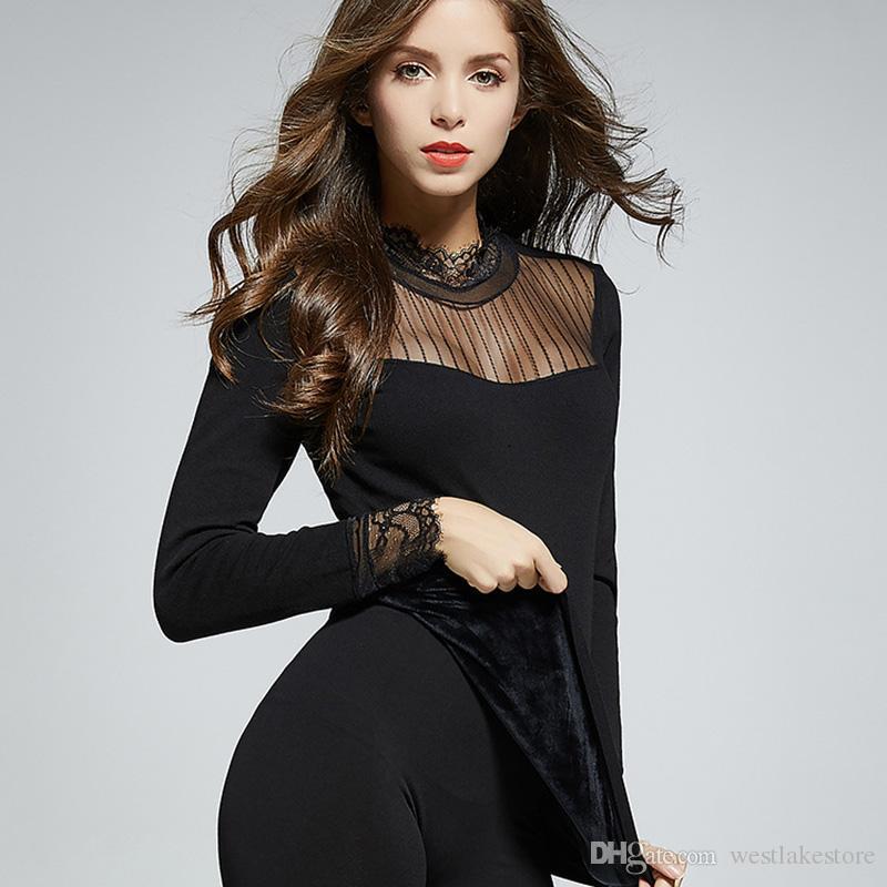 Термобелье для женщин хлопок толстые формирователи Сексуальная длинные Джонс мягкий толстый теплый женский термобелье кружева шеи одежда