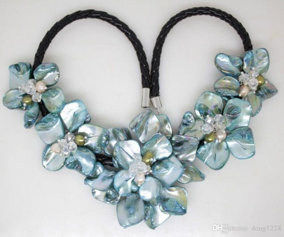 NEW blue mother of pearl shell handmade pearl crystal& five flowers necklace