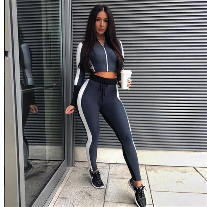 9030ae6b6959d 2019 Women Workout Outfits Crop Top And Pant Autumn Winter 2018 Long Sleeve  Blue White Striped Gym Running Sport Yoga Two Piece Set From Yiyunwat, ...