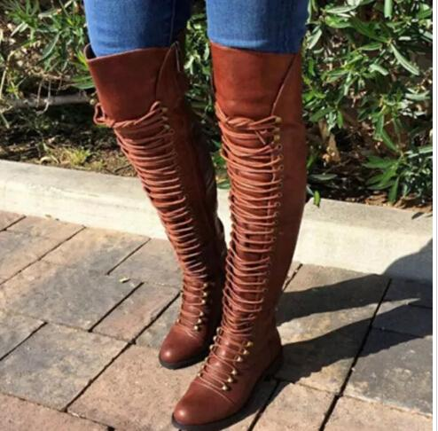 Cross-tied Knee High Riding Boots