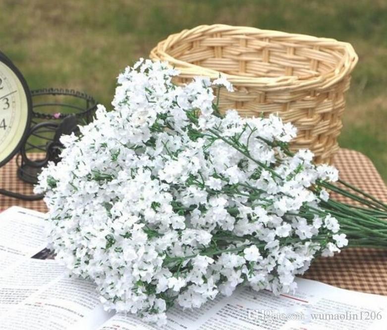 Artificial PU Gypsophila Bouque flores boda falso Babysbreath flores fiesta de Navidad decoración de la mesa ramo simulación Babys 'Bre