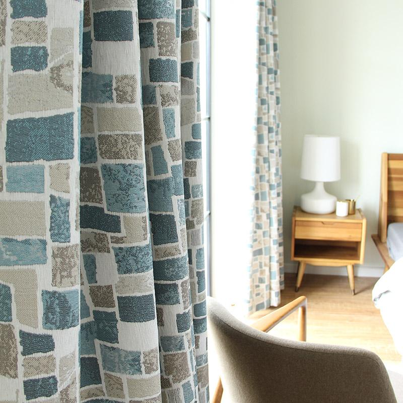 Cortina feita sob encomenda Nordic Chenille Engrossar Mosaico Cor sombra bloco Jacquard sala de estar quarto janela pano cortina blackout M513