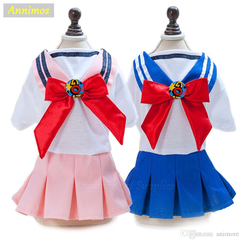 2018 New! Pet Dog Cute School Uniform Dresses with Big Bowknot for Small Girl Dog Clothes Costume Puppy Chihuahua Yorkie 35
