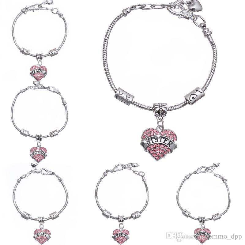 Membre de la famille diamant amour coeur bracelet cristal mère fille grand-mère croire foi foi lettre bracelet pour femmes hommes meilleur ami bijoux
