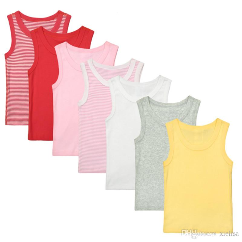 7-8PCS 1-4Y Children's T shirt boys t-shirt Baby Clothing Little girl Summer sleeveless shirt Tees Cotton solid Casual Kids Clothes