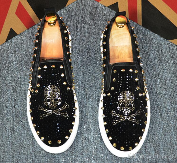 Scarpe da uomo con rivetti d'acqua diamantate, scarpe sportive da uomo rivetti casual, scarpe casual piatte di design di lusso Aria traspirante G161