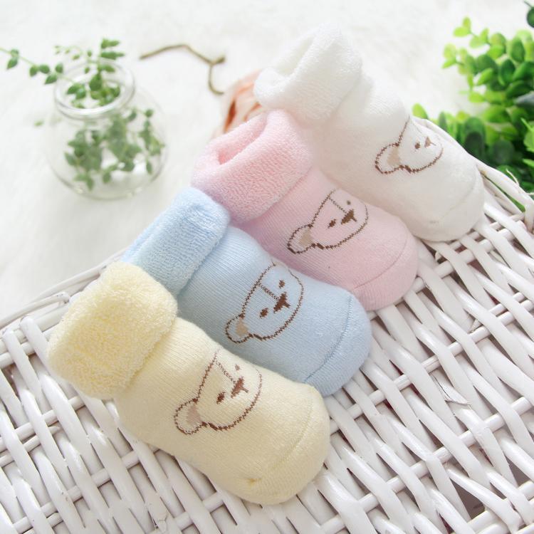 (4 çift / grup) Sonbahar ve kış çocuk döngü kazık kazık kemiksiz çocuk 100% pamuk yenidoğan bebek termal çorap