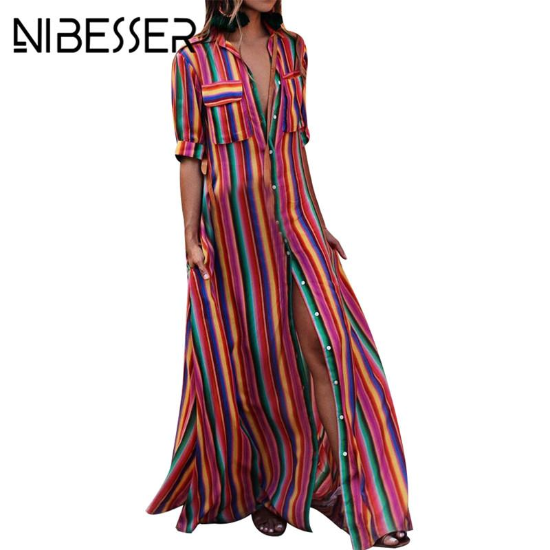 NIBESSER женщины летний пляж макси платье 2018 Sexy High Split сарафан мода красочные полосатый печати Boho длинное платье партии халат