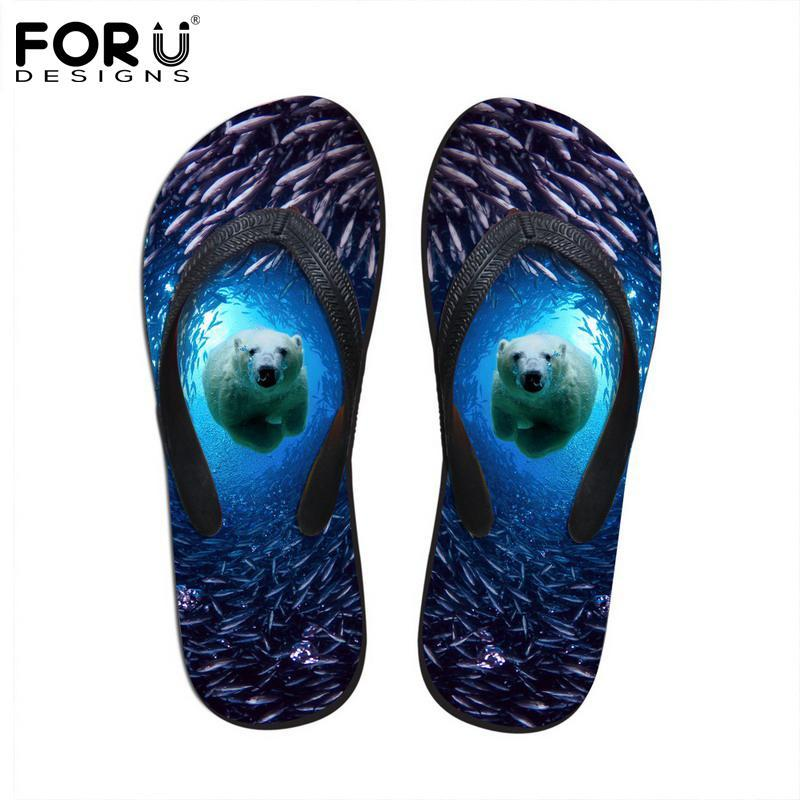 FORUDESIGNS 2018 여름 여성 플립 플립 3D 푸른 바다 동물 돌핀 프린트 고무 Flipflops 패션 여성 비치 슬리퍼 신발