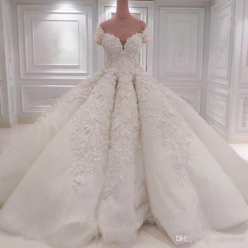 2019 Nuevo Lujo Off Shoulder Crystal Vestidos de novia Lentejuelas con cuentas de encaje completo Vestidos de novia Vintage Bola Vintage Bolsa Tallas Vestido De