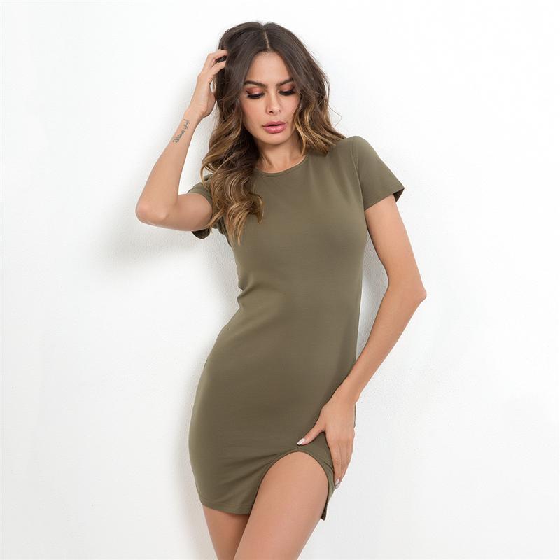Mulheres verão bodycon dress novo algodão bainha verde bodycon dress perna menina side slit vestidos de manga curta sexy mini slim mulheres dress