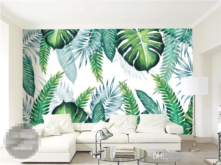 Custom Photo Wall Paper Modern Simple 3d Tropical Plant Leaves Mural Wallpaper Living Room Restaurant Backdrop Wall Painting 3 D Wallpaper Online Wallpaper Picture Hd From Beibei168 17 59 Dhgate Com Watercolor painting of lotus flower. custom photo wall paper modern simple
