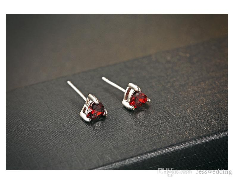 New Style Inexpensive Popular Accessories S925 Sterling Silver Small Ornament Claws Set Heart Garnet Stone Ear Nail Red Zircon Heart