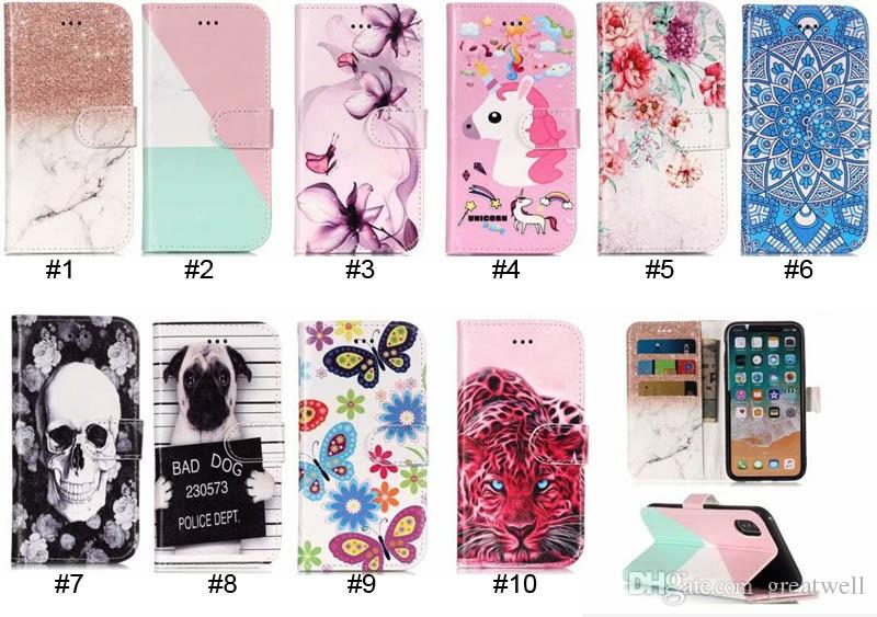 Marble Leopard Skull Flower Wallet Flip Leather Case For iPhone XS Max XR 8 7 6S Plus Samsung S7 S8 S9 Plus A3 A5 A8 2018 Plus