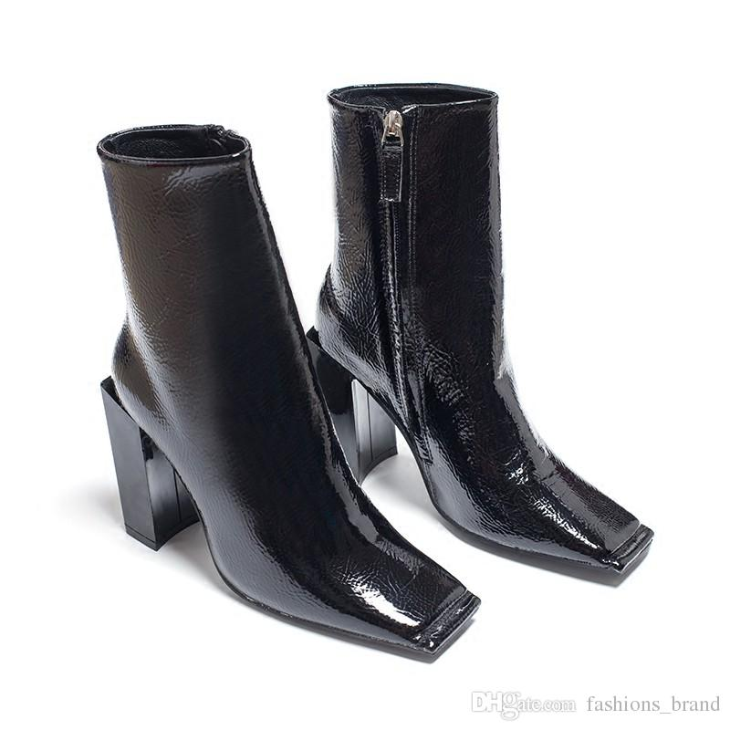 a2dd7a88695 Hot New Square Toe Women Ankle Boots Black Patent Leather Short Booties  High Heel Side Zip Luxury Brand Super Star Runway Shoes Black Knee High  Boots ...