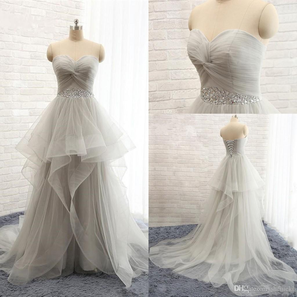 2018 New Elegant Sexy Sweetheart Hi Low Prom Dresses Sleeveless RuffleTulle Party Formal Evening Dresses Gowns for Women Custom Made