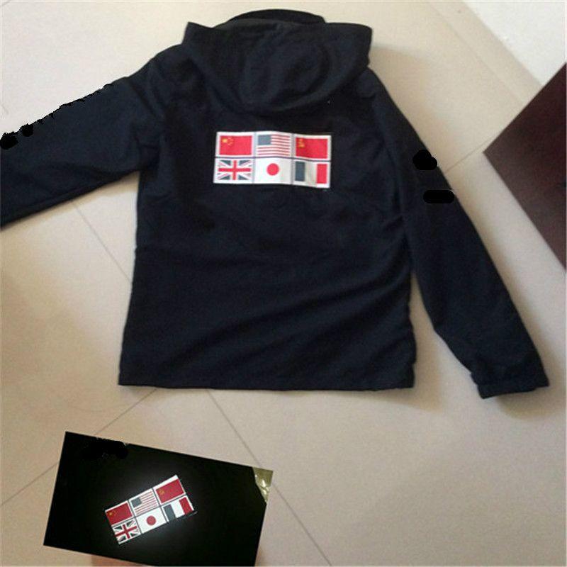 Дизайнер балахон роскошные куртки одежда военная карта светоотражающие куртки с капюшоном черные мужские куртки толстовки серебристые размер M-XXL