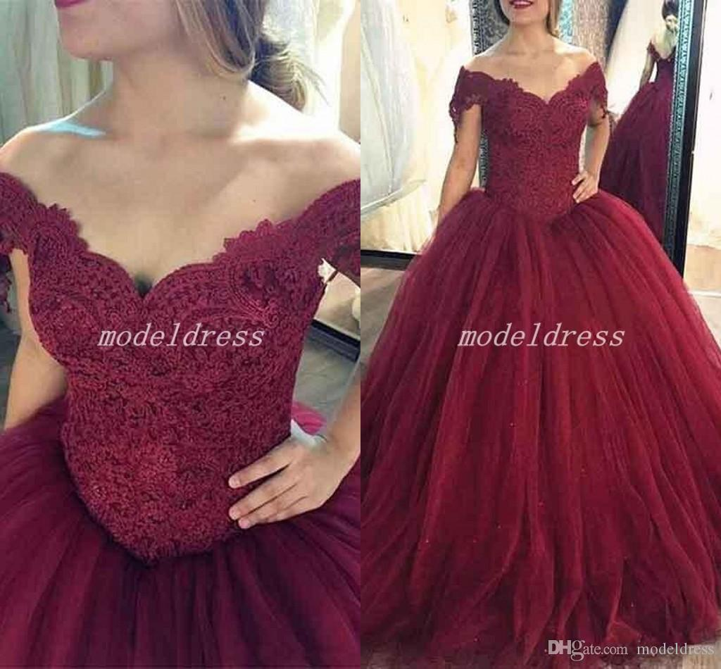 2018 Burgundy Ball Gown Prom Dresses Off Shoulder Sweep Train Long Appliques Formal Evening Party Gowns Vestidos De Fiesta Plus Size