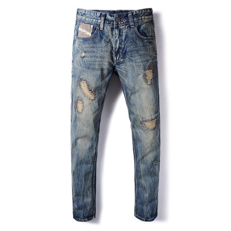 European Retro Design Fashion Mens Jeans Slim Fit Vintage Patchwork Ripped Jeans For Men Brand Biker Men Casual Pants