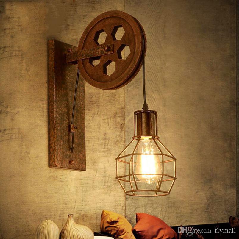 CE Loft retrò lampada creativa di sollevamento puleggia lampada da parete sala da pranzo ristorante corridoio corridoio pub cafe lampada da parete reggiseno applique da parete