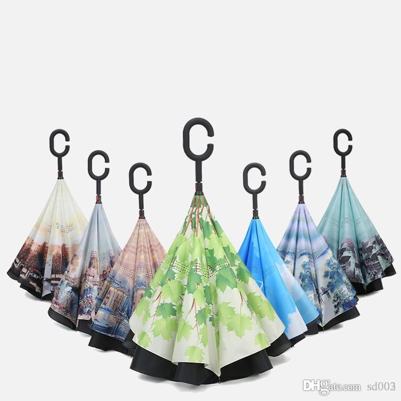 Everted Umbrellas Double Layer Reverse Umbrella Anti Wind And Rain Proof Paraguas Straight Rod Inversion Many Styles 27 8fs ZZ