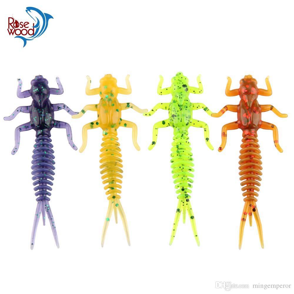 50 unids / lote suave señuelo de la pesca de la larva 60 mm 1.4g libélula gusano larva de agua dulce cebo de pesca realista de silicona libélula aparejos de pesca