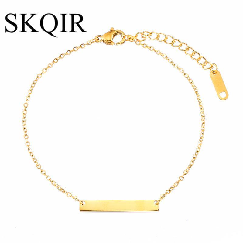 SKQIR Bar Pulsera Femme Personalizado Grabado Pulsera de Oro de Acero Inoxidable Joyería Personalizada Pulseras Iniciales para Las Mujeres