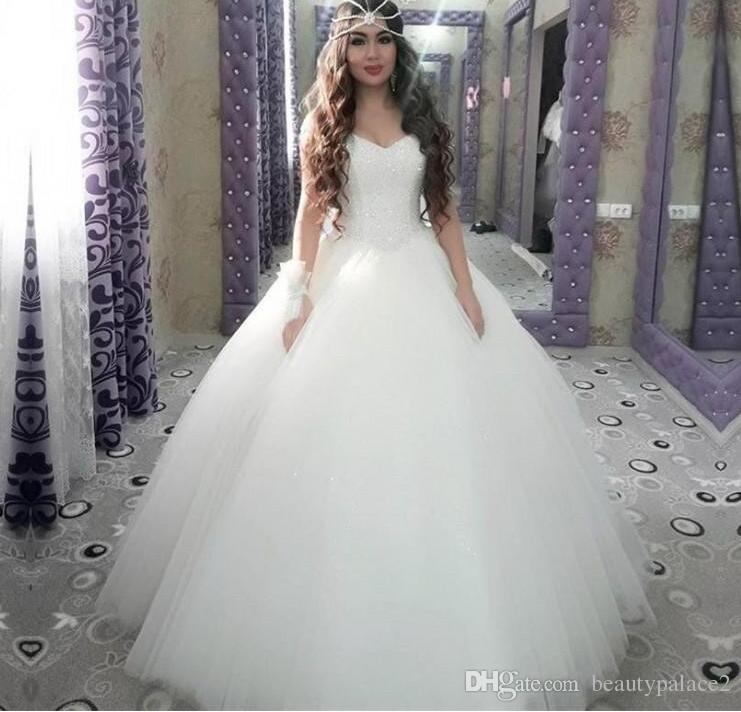 Compre 2019 Vestidos De Novia Elegantes Del Vestido De Princesa Ball Vestidos De Novia Sin Mangas Del Amor Del Piso Vestidos De Boda De Oriente Medio