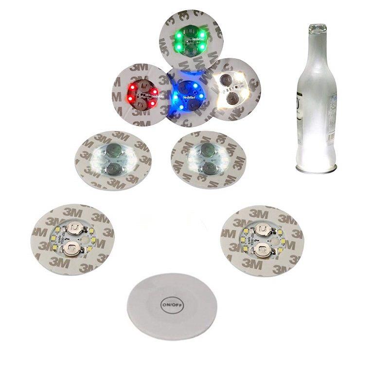 زجاجة الصمام الخفيفة ملصقات LED زجاجة النبيذ المصباح مصغرة ضوء LED كوستر كأس حصيرة حزب بار نادي الزجاج إناء عيد الميلاد الديكور