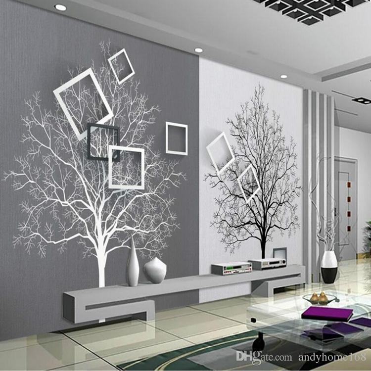 Compre Papel De Parede 3d Rolos De Papel De Parede Para Paredes 3d Murais Hd Preto E Branco árvore Simples 3d Tv Fundo Papéis De Parede Melhoria Home