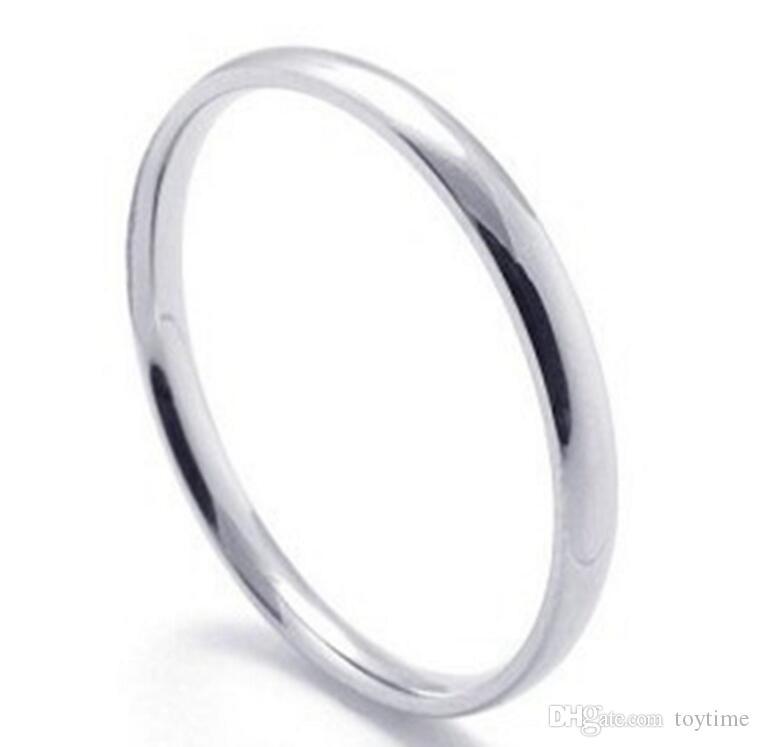 Vente en gros- Anneau de queue en acier au titane simple brillant pas de décoloration ni de rouille fine en acier inoxydable couple anneau 2mm pour couple