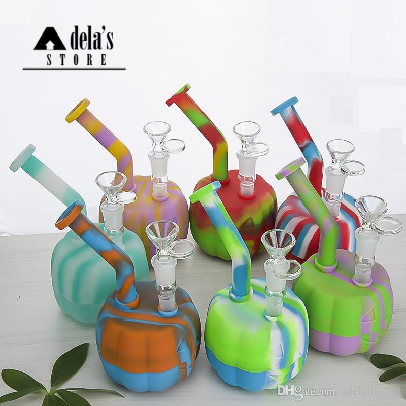 Pumpkin Silicon Water Pipe With Glass Bowl Silicon Dab Oil Rig Jar Glass Down Stem Hookah Bongs Tool Pipe Halloween 473