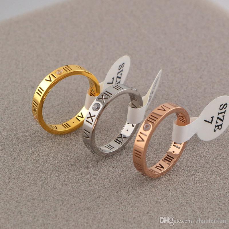 ZHF bijoux vente chaude en acier au titane 316L mode coréenne rome pierre de l'amour creux anneaux couple Aneis Anillos Bague Femme ne se fanent