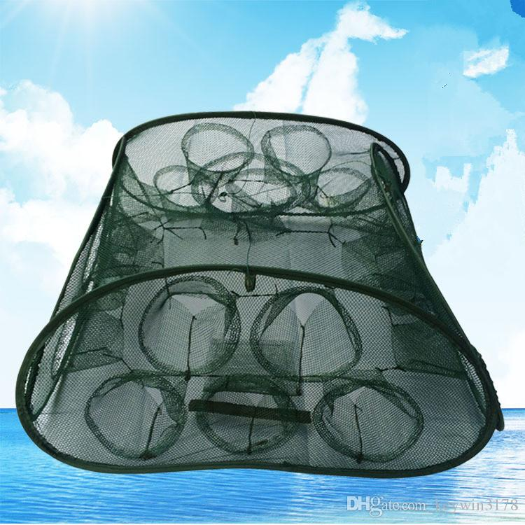5/9/21 Holes Portable Folding Fishing Net Automatic Shrimp Fish Traps Minnow Crab Baits Cast Mesh Trap With Storage Bag Free Shipping