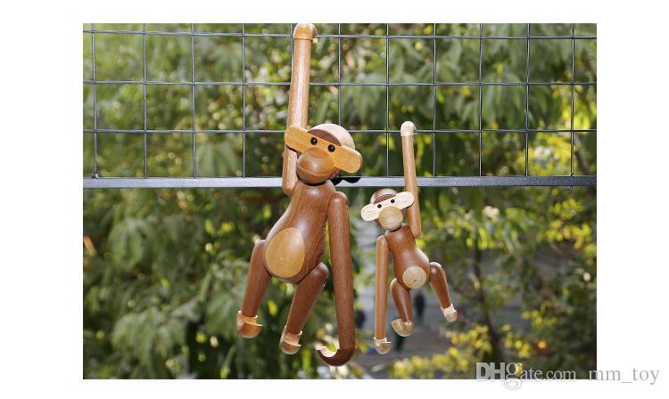 وزارة الداخلية مجموعة الأعمال ديكور الحالية لطيف الفن الخشب المعلقة القرد لعب هدية عيد ميلاد الحيوان تماثيل فنية للأطفال O