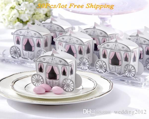 "(50 pieces/lot) Wedding and Party Gift boxes of ""Enchanted Carriage"" Favor Boxes For wedding souvenirs box and Baby Shower Party Favor box"
