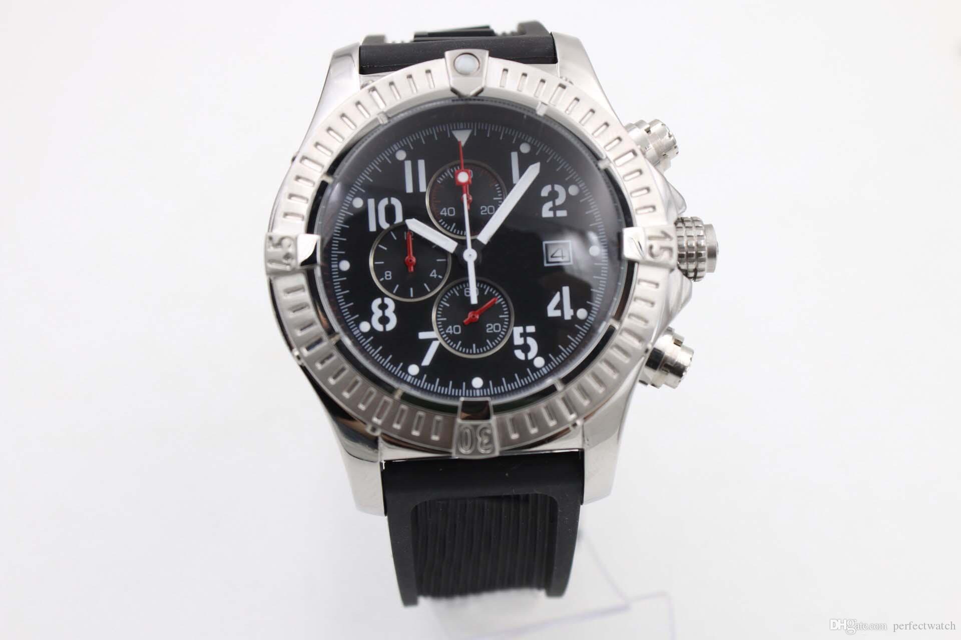 고품질 옛 브랜드 남자 시계 Avenger 시리즈 A1338012 / F548 (다이버 프로 깊은 잠복 고무 스트랩) 쿼츠 시계 스톱워치 시계