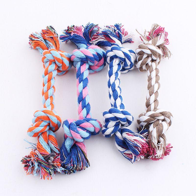 2 Cuerdas de nudo para perros Juguete para perros Perro para masticar juguetes Juego de algodón trenzado Hueso Cuerda Color Ideal para masticadores agresivos