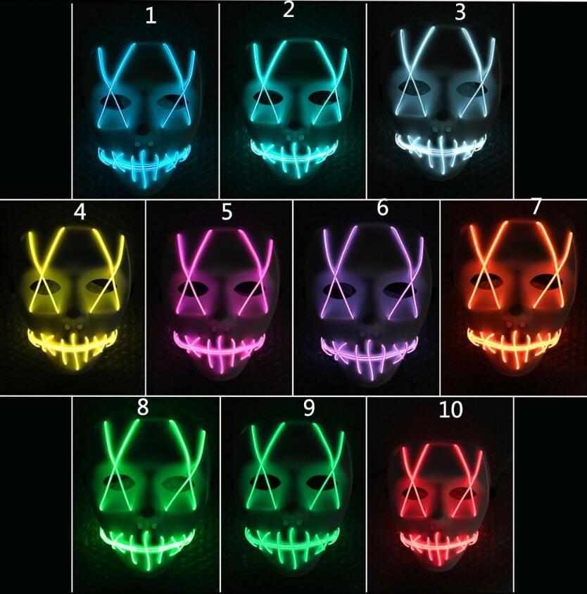 Cadılar bayramı Maskesi LED Işık Up Komik Maskeleri Tasfiye Seçim Yılı Büyük Festivali Cosplay Kostüm Malzemeleri Parti Maskeleri Karanlıkta Glow