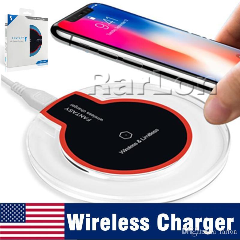 Drahtlose Aufladeplatte des Kristall-Qi für Samsung S8 s10 plus hoher Auflagen-Sender Iphone xs max mit Kleinpaket KEIN schnelles Aufladen