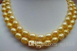Classic double strands 11-12mm baroque natural south sea gold pearl necklace 18 inch 14k gold clasp
