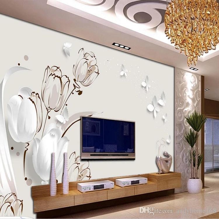 Custom any size 3d photo wallpaper wall mural wallpaper 3d TV backdrop butterfly tulip 3d stereoscopic living room wall decor