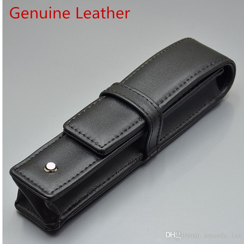 Toptan-lüks siyah PU deri / hakiki deri MB kalem kutusu Kırtasiye Ofis yüksek kaliteli Kalem çantası marka seti hediye kalem çantası